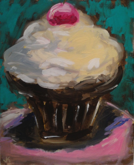 """Cherry on Top"" Acrylic on Canvas 40cm x 50cm $450"