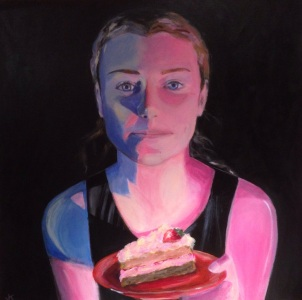 """Anyone For Cake?"" Acrylic on canvas 61 x 61cm $800"