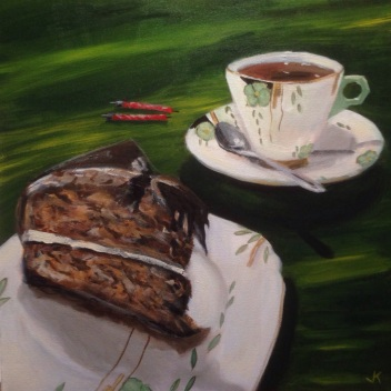 """Tea and cake"" Acrylic on Canvas 50 x 50cm $550"