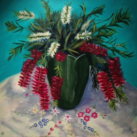 """""""Bottlebrush in Arts and Crafts Vase"""" Acrylic on Canvas SOLD"""