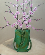 """""""Cherry Blossoms in Art Deco Vase Acrylic on Canvas 610mm x 508mm SOLD"""