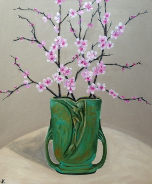 """Cherry Blossoms in Art Deco Vase Acrylic on Canvas 610mm x 508mm SOLD"