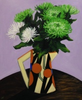"""""""Chrysanthemums in Clarice Cliff Jug"""" Acrylic on Canvas 610mm x 508mm SOLD"""