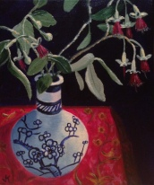 """""""Debbie's Blossom in Chinese Vase"""" Acrylic on Canvas 250mm x 310mm SOLD"""