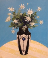 """""""Flannel Flowers in French Art Deco Vase"""" Acrylic on Canvas 610mm x 508mm SOLD"""