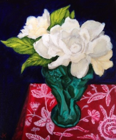 """Gardenias in Malachite Art Deco Vase"" Acrylic on Canvas 250mm x 310mm SOLD"