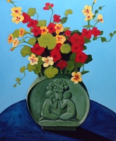 """Nasturtiums in Art Deco Vase"" Acrylic on Canvas 610mm x 508mm SOLD"