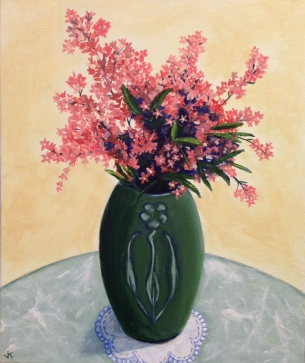 """NSW Christmas Bush in Arts and Crafts Vase"" Acrylic on Canvas 610mm x 508mm SOLD"
