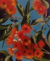 """""""Orange Gum Blossoms"""" Acrylic on Canvas 250mm x 310mm SOLD"""