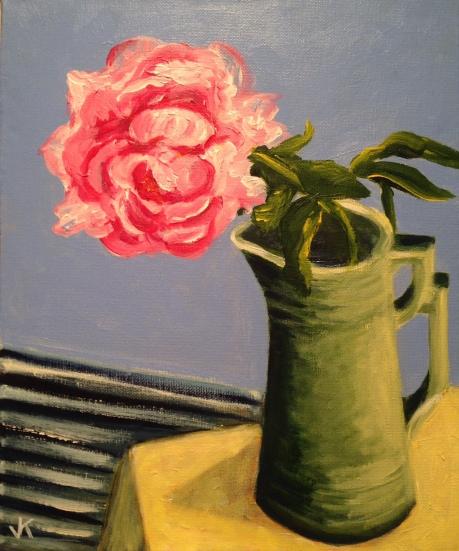 """Peony in Green Jug"" Acrylic on Canvas 250mm x 310mm $300"