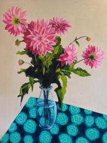 """Pink Dahlias in Glass Vase"" Acrylic on Canvas 1016mm x 762mm $1200"