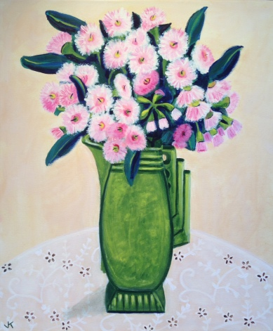 """""""Pink Gum Blossoms in Art Deco Jug"""" Acrylic on Canvas 610mm x 508mm SOLD"""