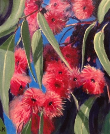 """""""Pink Gum Blossoms"""" Acrylic on Canvas 250mm x 310mm SOLD"""