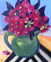 """""""Red Gum Blossoms in Green Jug"""" Acrylic on Canvas 250mm x 310mm SOLD"""