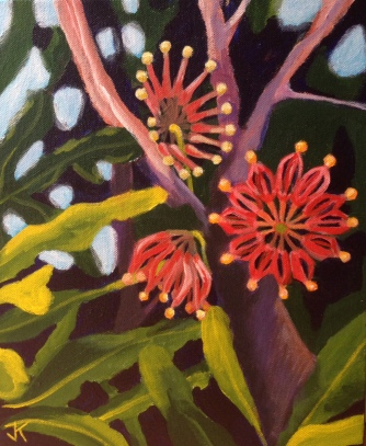 """Firewheel Tree"" Acrylic on Canvas 250mm x 310mm SOLD"