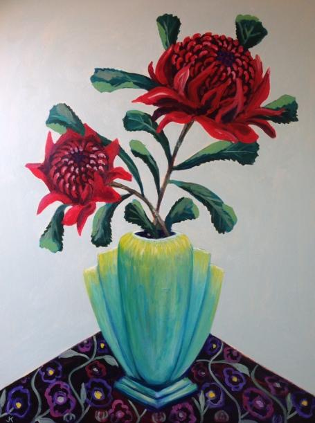 """Waratahs in Aqua Art Deco Vase"" Acrylic on Canvas 1016mm x 762mm $1200"