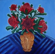 """Waratahs in French Art Deco Vase"" Acrylic on Canvas 762mm x 762mm SOLD"