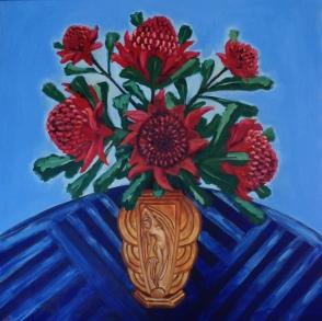 Waratahs in French Art Deco Vase
