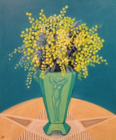 """Wattle in Art Deco Vase"" Acrylic on Canvas 610mm x 508mm SOLD"