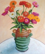 """Zinnias in Art Deco Vase"" Acrylic on Canvas 610mm x 508mm SOLD"