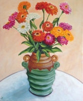 """""""Zinnias in Art Deco Vase"""" Acrylic on Canvas 610mm x 508mm SOLD"""