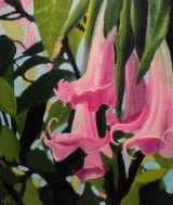 """""""Pink Angel's Trumpets"""" Acrylic on Canvas 250mm x 310mm SOLD"""
