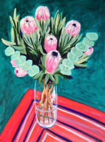 """Pink Proteas in Glass Vase"" Acrylic on Canvas 1016mm x 762mm $1200"
