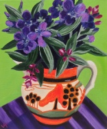 """Tibouchina Blooms in Clarice Cliff Jug"" Acrylic on Canvas 250mm x 310mm SOLD"