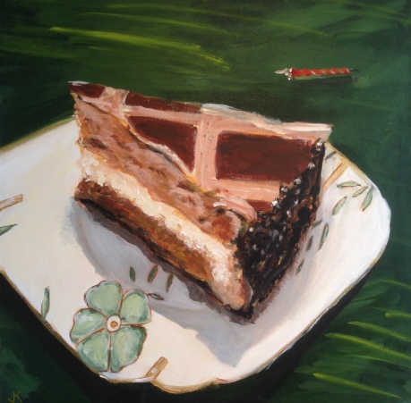 """Tiramisu Cake"" Acrylic on Canvas 50 x 50cm $550"
