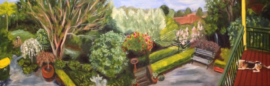"""Bellevue"" Acrylic on canvas 122cm x 40cm $950"