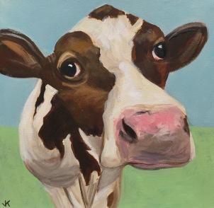 'Betty Bovine' Acrylic on Canvas 300mm x 300mm $400