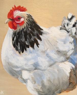 'Henny Penny' Acrylic on Birch Panel 250mm x 200mm $350